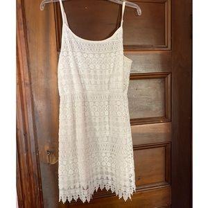White H&M divided spaghetti strap lace dress